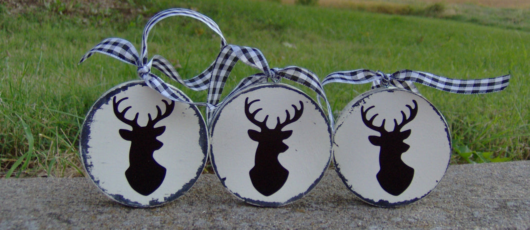 Deer Head Ornaments Distressed Wood Vinyl Christmas Tree Christmas July Holiday Rustic Farmhouse Wooden Ornaments Home Decoration Gifts  Art