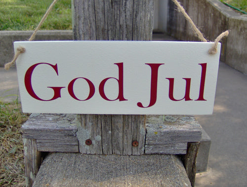God Jul Swedish Merry Christmas Sign Wood Vinyl Sign Family Holiday Signs For Wreaths Front Porch Door Decor Farmhouse White Signs Wall Art