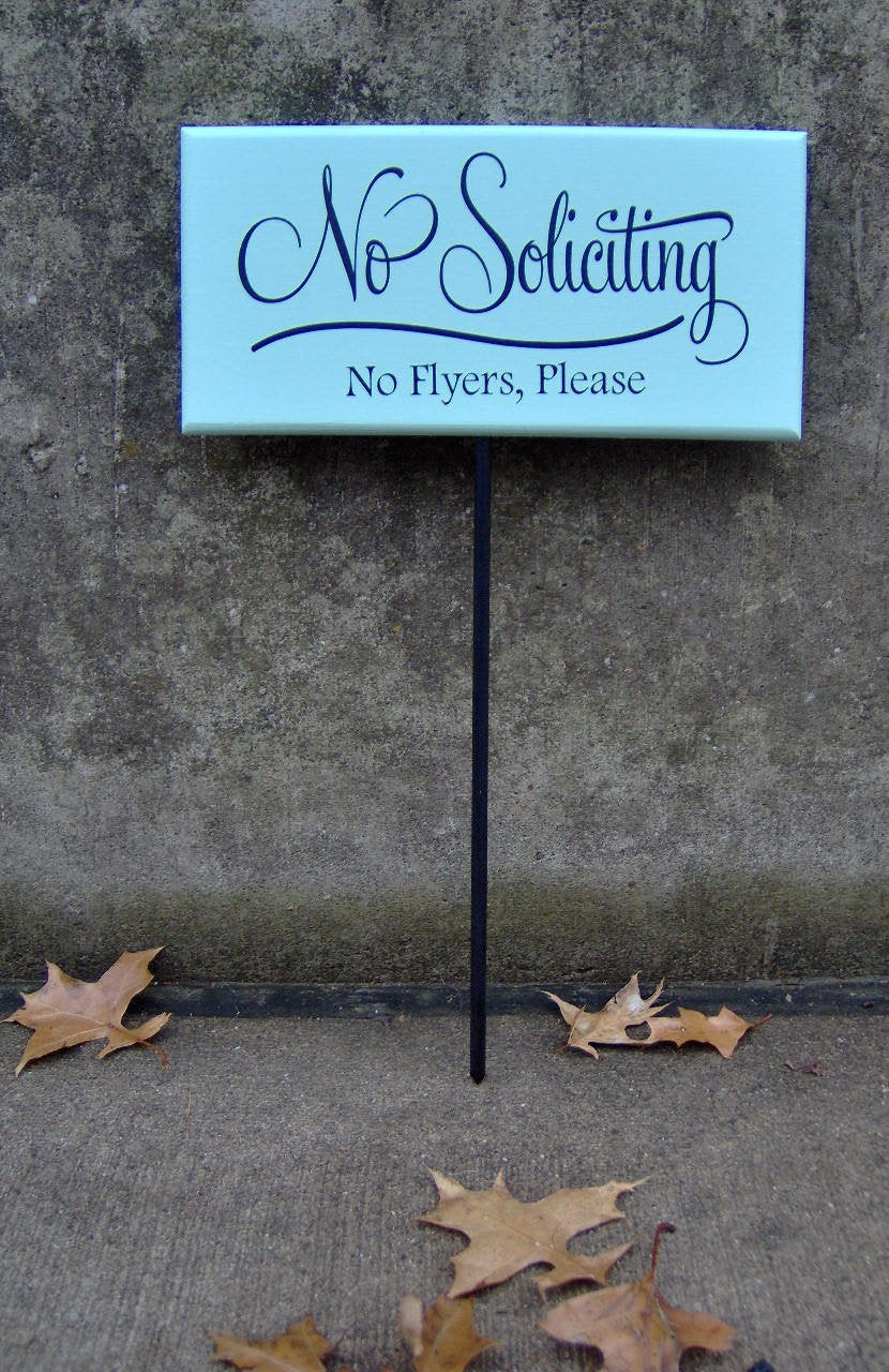 No Soliciting Sign No Flyers Please Wood Vinyl Yard Stake Sign Porch Sign Home Decor Sign Garden Sign Yard Sign Do Not Disturb Wooden Sign
