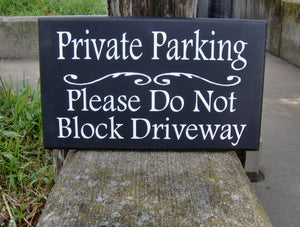 Private Parking Do Not Block Driveway Wood Vinyl Sign Garage Sign Entryway Decor Professional Quality Signs For Home Business Exterior Yard