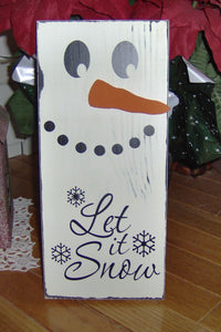 Winter Door Decor Let It Snow Snowman Wood Vinyl Wall Hanging Sign