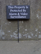 Load image into Gallery viewer, Property Protected Alarm Video Surveillance Wood Vinyl Sign Stake Signs Yard Art Private Property Security Sign Warning Sign Front Door Sign - Heartfelt Giver