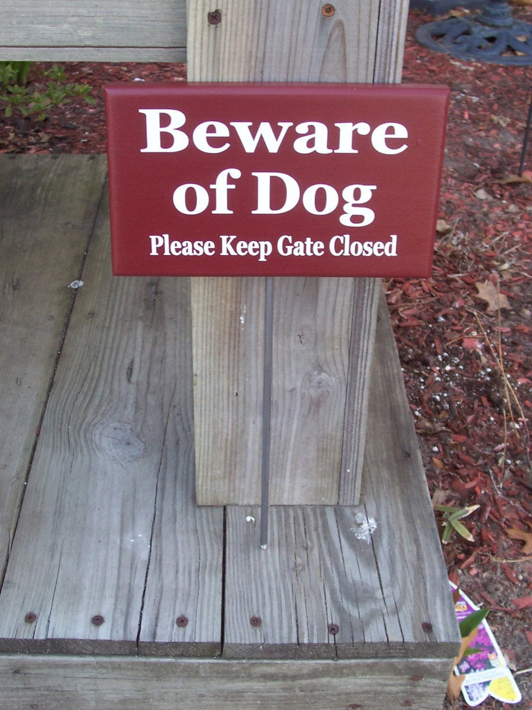 Beware of Dog Please Keep Gate Closed Wood Vinyl Stake Sign Dog Signs For Dog Owners Outdoor Yard Art Wooden Sign Dog In Yard Garden Sign - Heartfelt Giver