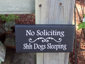 No Soliciting Shh Dogs Sleeping Wood Vinyl Stake Sign Pet Love Signs For Outdoors  Front Entry Lawn Ornament Yard Sign Art Garden Plaque