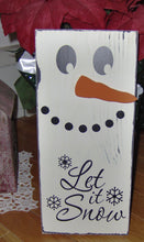 Load image into Gallery viewer, Winter Door Decor Let It Snow Snowman Wood Vinyl Sign Farmhouse Sign Wall Hanging Snowflakes Wreath Signs Front Entryway Sign Home Gift Art