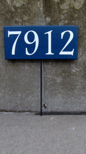 House Number Plaque House Number Sign Wood Vinyl Stake Sign Navy Blue Street Signs Address Sign Wall Porch Sign Front Door Signs Personalize