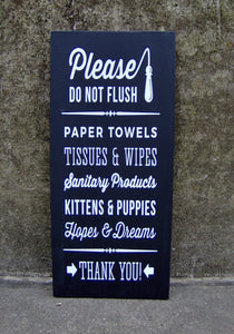 Bathroom Wood Sign Please Do Not Flush Wooden Vinyl Sign  Funny Vertical Wall Decor Signs Restroom Powder Room Wash Room Hanging Signage Art
