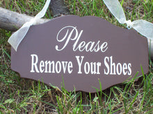 Load image into Gallery viewer, Please Remove Shoes Wooden Sign Vinyl Door Hanger Take Off Shoes Entry Door Sign No Shoes Home Decor House Sign Business Sign Office Brown - Heartfelt Giver