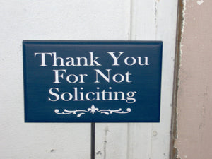 Thank You Not Soliciting Wood Vinyl Stake Sign Fleur De Lis Decor Navy Blue Outdoor Signs For Home Yard Art Garden Decor Gift Lawn Sign