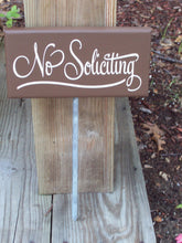 Load image into Gallery viewer, No Soliciting Sign Wood Vinyl Stake Sign Everyday Outdoor Front Yard Decor Signage For Homes Or Businesses In Country Brown Home Decor Art
