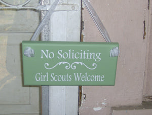 No Soliciting Girl Scouts Welcome Wood Vinyl Sign Plaque Home Decor Door Entry Porch Door Hang Child Kid Boy School Sport Fundraiser Cookies