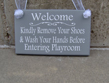 Load image into Gallery viewer, Welcome Kindly Remove Shoes Wash Hands Playroom Wood Vinyl Sign Take Off Shoes Home Daycare Business Health Wellness Custom Door Decor Art