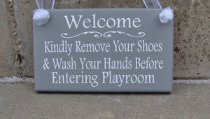 Welcome Kindly Remove Shoes Wash Hands Playroom Wood Vinyl Sign Take Off Shoes Home Daycare Business Health Wellness Custom Door Decor Art
