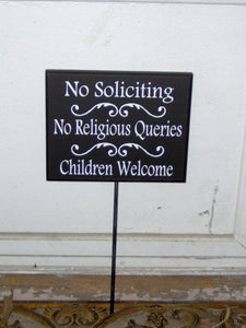 No Soliciting No Religious Queries Children Welcome Wood Vinyl Outdoor Yard Sign Stake Sign Front Door Decor Private Entryway Driveway Signs