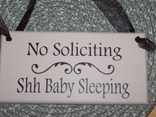 Load image into Gallery viewer, No Soliciting Shh Baby Sleeping Wood Vinyl Sign Baby Shower Gift Ideas