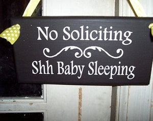 No Soliciting Shh Baby Sleeping Wood Vinyl Sign Baby Shower Gift Ideas