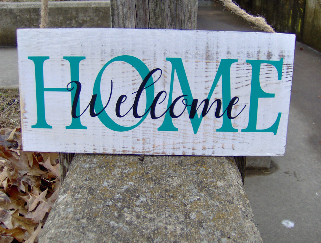 Welcome Home Wood Vinyl Sign Spring Summer Front Door Decor Farmhouse Distressed Rustic Design Porch Sign Outdoor Signs For Home Business