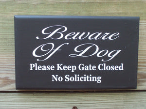 Beware Of Dog Please Keep Gate Closed No Soliciting Wood Sign Vinyl Lettering  Fence Hanger Security Pet Lover Supplies Gift Yard Sign Decor