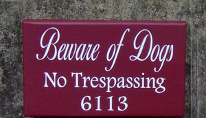 Beware Of Dogs No Trespassing House Number Vinyl Wood Sign Address Sign Porch Sign Yard Outdoor  Garden Sign Private Residence Property Red