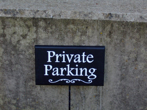 Private Parking Sign Wood Vinyl Stake Sign Custom Signs for Driveways Yards Gardens for Homes and Businesses