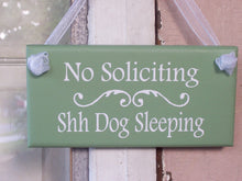 Load image into Gallery viewer, No Soliciting Shh Dogs Sleeping Wood Signs Vinyl Pet Supplies Front Porch Sign Green Outdoor Door Hanger Garden Gate Sign Dog Sign Yard Art - Heartfelt Giver
