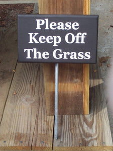 Please Keep Off The Grass Wood Vinyl Rod Stake Sign Lawn Landscape Yard Art Garden Outdoor House Home Decor Private USA Made Black White