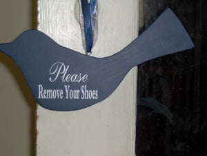 Please Remove Shoes Blue Bird Wooden Cutout Wood Block Vinyl Sign Take Shoes Off Sign Home Decor Door Hanger Wreath Accent Housewarming Gift - Heartfelt Giver