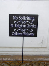 Load image into Gallery viewer, No Soliciting No Religious Queries Children Welcome Wood Vinyl Outdoor Yard Sign Stake Sign Front Door Decor Private Entryway Driveway Signs