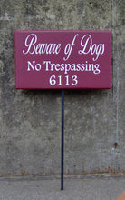 Load image into Gallery viewer, Beware Of Dogs No Trespassing House Number Wood Vinyl Yard Stake Sign Apartment Number Sign Street Name Sign Outside Porch Sign Yard Signs