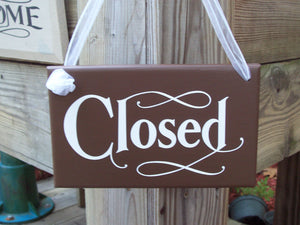 Open Closed  Wood Vinyl Sign Reversible Business Sign Office Supply Grand Opening Gift New Business Supplies Sign Front Door Welcome Signage