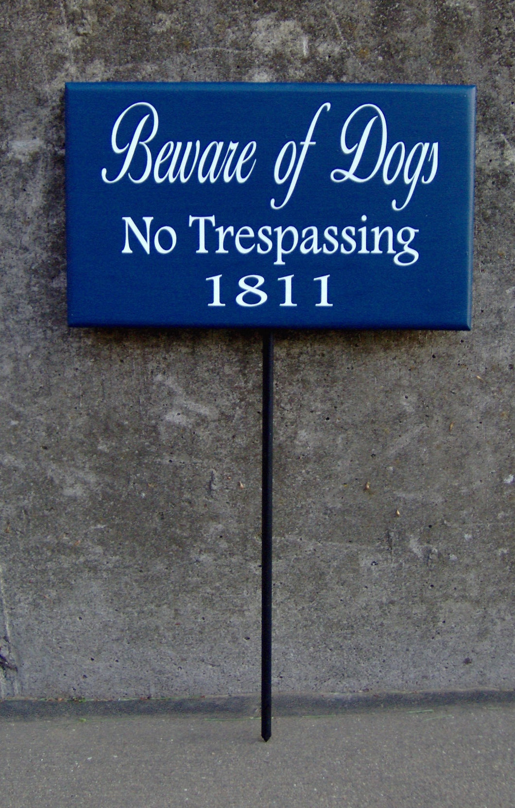 Beware Of Dogs No Trespassing House Number Wood Vinyl Stake Sign Dog Decor Address Front Porch Yard Garden Private Do Not Disturb Navy Blue - Heartfelt Giver