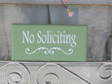 Load image into Gallery viewer, No Soliciting Sign Wood Vinyl Green Signs Outdoor Yard Sign Decor Garage Door Hanger Entryway Porch Wall Decor Outdoor Housewarming Gift Art - Heartfelt Giver