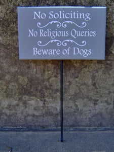 No Soliciting No Religious Queries Beware Of Dogs Wood Vinyl Stake Sign Outdoor Sign Yard Sign Security Pet Supplies Family Porch Sign Patio