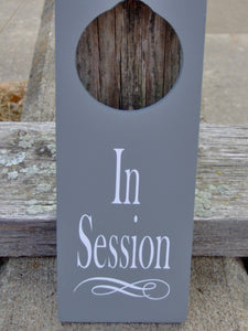 In Session Door Knob Wood Vinyl Office Business Door Sign