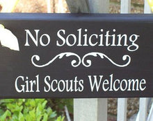 Load image into Gallery viewer, No Soliciting Girl Scouts Welcome Wood Vinyl Front Hanger Shabby Cottage Home Decor Sign Girl Scout Cookies Thin Mints Kid Boy Wreath Sign - Heartfelt Giver