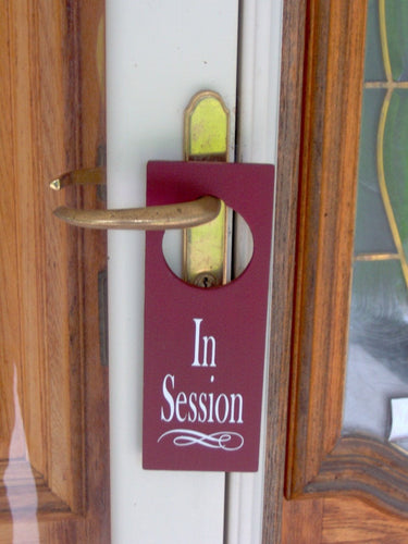 In Session Door Knob Hanger Wood Vinyl Door Sign Massage Therapy Beauty Salon Doctor Counselor Business Office Themed Gifts Door Decor Art - Heartfelt Giver