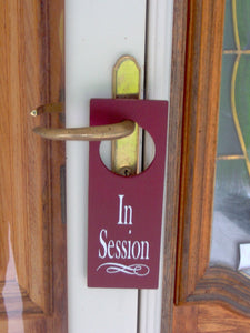 In Session Door Knob Hanger Wood Vinyl Door Sign Massage Therapy Beauty Salon Doctor Counselor Business Office Themed Gifts Door Decor Art