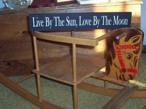 Live By The Sun, Love By The Moon Wood Sign Vinyl Block Sign Shelf Sitter Wall Hanging Plaque Wedding Bedroom Kids Room Entryway Home Decor