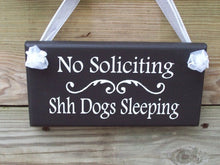 Load image into Gallery viewer, No Soliciting Shh Dogs Sleeping Wood Vinyl Sign Front Door Hanger Wall Hanging Dog Lover Gift Dog Signs For Yard Outdoor Sign Garage Sign