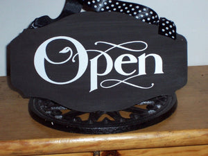 Open Closed Wood Vinyl Two Sided Sign Custom Office Supply Office Signs Business Signs Door Hanger Store Signs Spa Massage Salon Window Sign