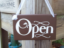 Load image into Gallery viewer, Open Closed  Wood Vinyl Sign Reversible Business Sign Office Supply Grand Opening Gift New Business Supplies Sign Front Door Welcome Signage