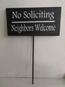 No Soliciting Neighbors Welcome Sign Wood Vinyl Stake Outdoor Signage Home Front Yard Decor Gift  Porch Decoration Wooden Home Accent Sign