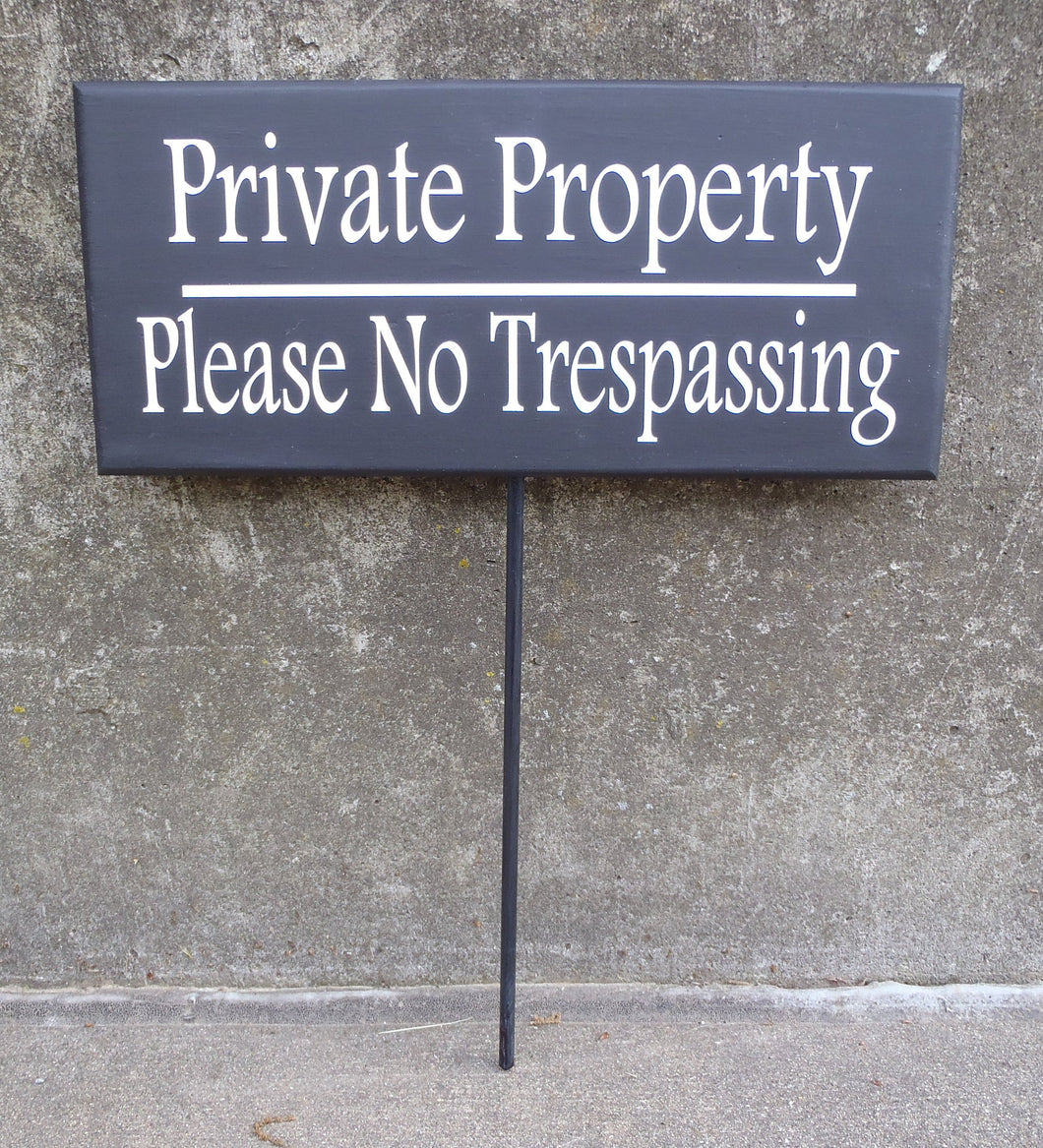 Private Property Please No Trespassing Wood Vinyl Front Yard Stake Decorative Signs Home Owners Business Owners Contractors Outdoor Signage