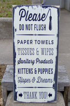 Load image into Gallery viewer, Please Do Not Flush Toilet Paper Only Bathroom Farmhouse Distressed Wood Vinyl Sign Restroom Washroom  Home Decor Restaurant Business Supply - Heartfelt Giver