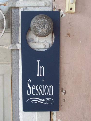 In Session Door Knob Hanger Wood Vinyl Sign Nautical Navy Blue Business Retail Shop Spa Salon Massage Therapy Private Please Wait Inform