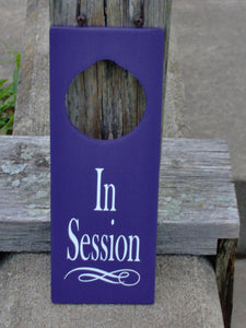 In Session Sign Wood Vinyl Door Knob Hanger Purple Business New Office Supply Massage Therapy Yoga Personal Sign Unique Gift Private Meeting