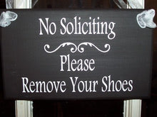 Load image into Gallery viewer, No Soliciting Please Remove Shoes Wood Vinyl Sign Overhang Entryway Front Door Hanger Outdoor Signs For Wall Decor Wooden Porch Sign - Heartfelt Giver
