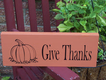 Load image into Gallery viewer, Give Thanks Pumpkin Wood Vinyl Sign Thanksgiving Holiday Decor Wall Decor - Heartfelt Giver
