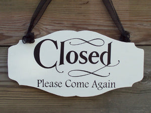 Open Welcome Closed Please Come Again Wood Vinyl Sign Business Signs For Windows Office Daily Entryway Door Decor Signage Indoor Inside Art - Heartfelt Giver