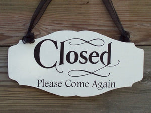 Open Welcome Closed Please Come Again Wood Vinyl Sign Business Signs For Windows Office Daily Entryway Door Decor Signage Indoor Inside Art